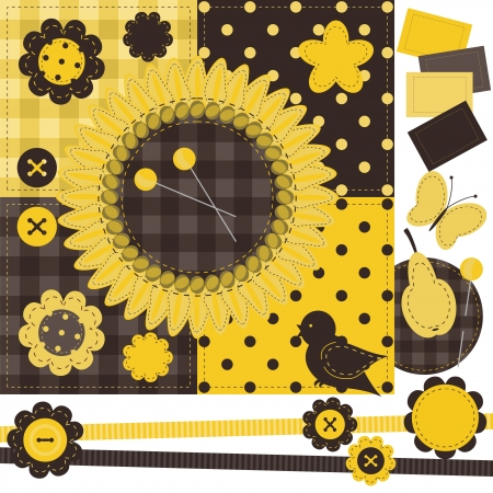 scrapbook set with different objects Vector