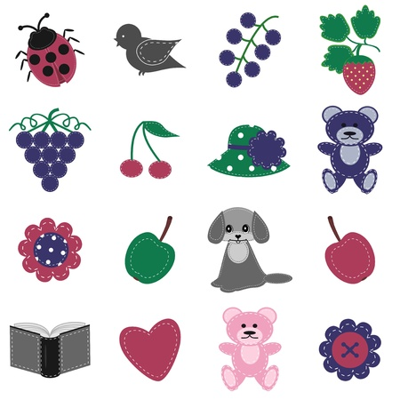 scrapbook objects on white background Vector