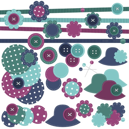 set of scrapbook objects Vector