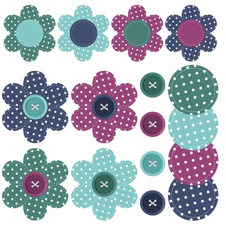 set with scrapbook flowers and buttons Vector