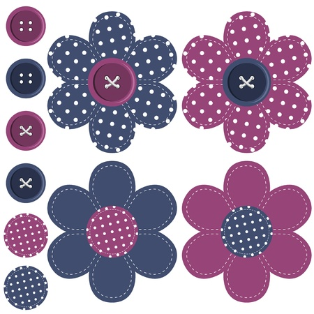 fancywork: set with scrapbook flowers and buttons