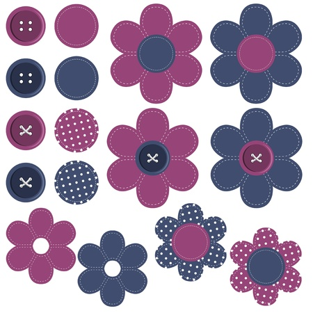 buttons sew: set with scrapbook flowers and buttons