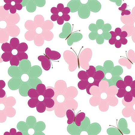 handiwork: seamless background with scrapbook flowers and butterflies Illustration