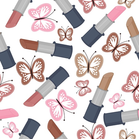 seamless background with lipsticks and butterflies Vector