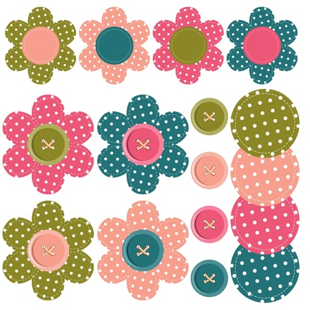 set with scrapbook flowers and buttons Stock Vector - 14324633