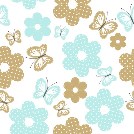nice background: seamless background with scrapbooking objects and butterflies