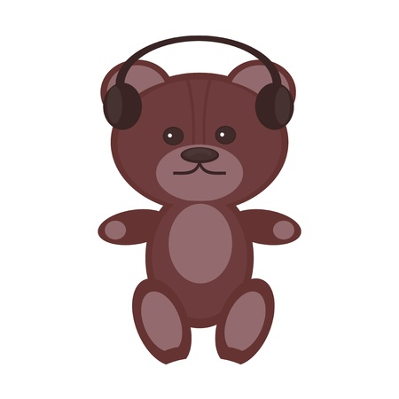 nice teddy bear with headphones on white background Vector