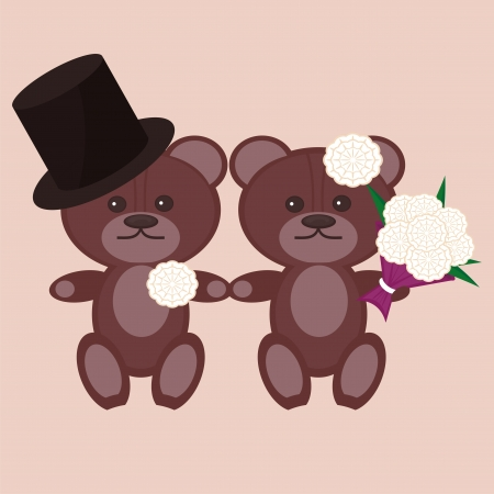 nice bears bridegroom and bride Vector