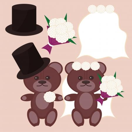 nice bears bridegroom and bride Stock Vector - 14349481