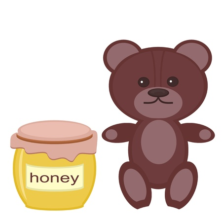 nice teddy bear with honey on white background Stock Vector - 14349498