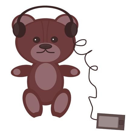 nice teddy bear with headphones and player Vector