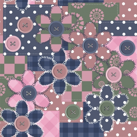 patchwork background with different patterns and flowers Vector