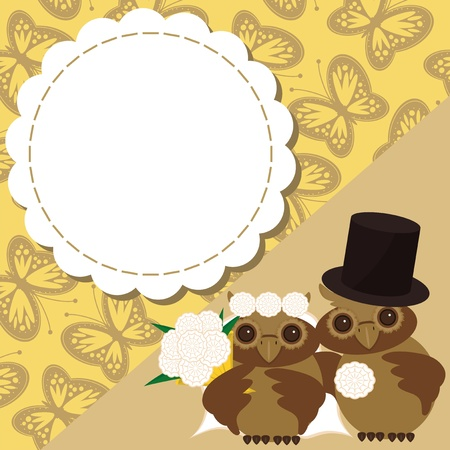 wedding card with two owls Vector