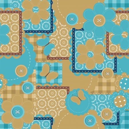 seamless patchwork pattern with different objects