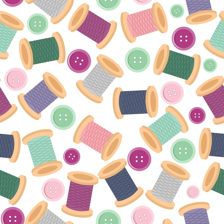 seamless pattern wwith reels of thread and buttons Vector