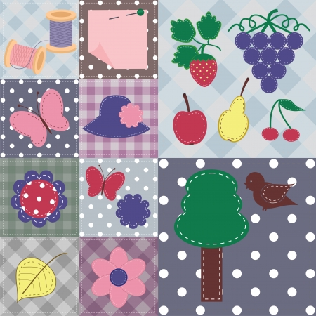patchwork background with different scrapbook objects
