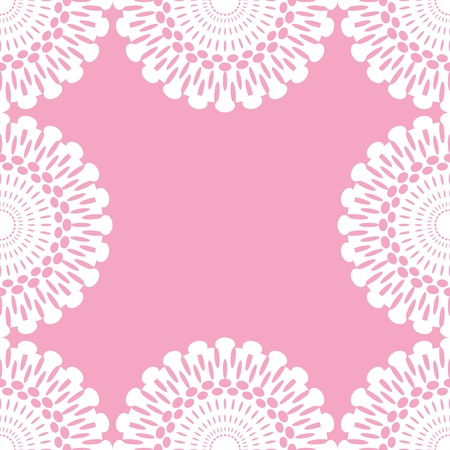 white lace on pink, seamless background Vector