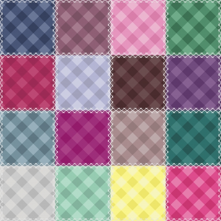 patchwork background with checked patterns Vector