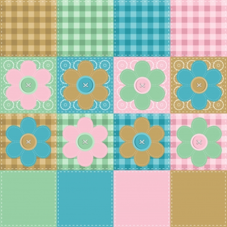 patchwork background with flowers and buttons Stock Vector - 14446770