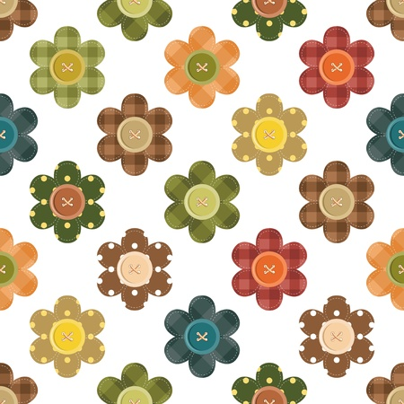 plastic made: background with flowers and buttons Illustration
