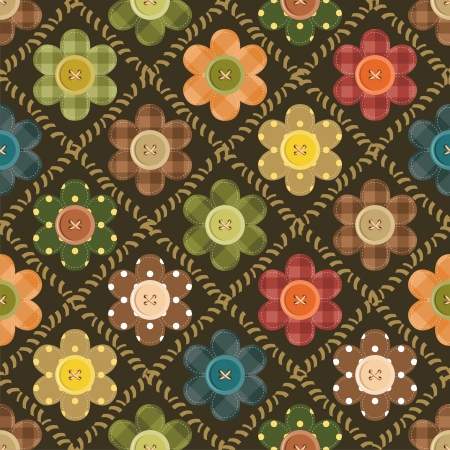 patchwork background with flowers and buttons Vector