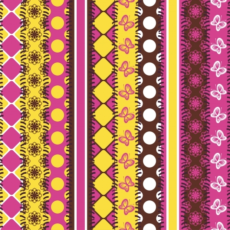 patchwork background with strips of fabrics Vector