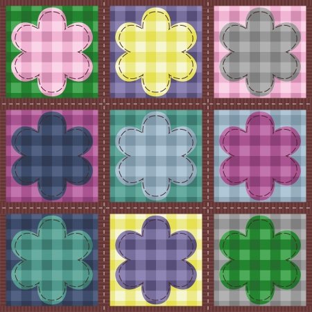 patchwork background with flowers Stock Vector - 14584548