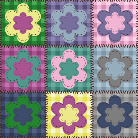 patchwork background with flowers Vector