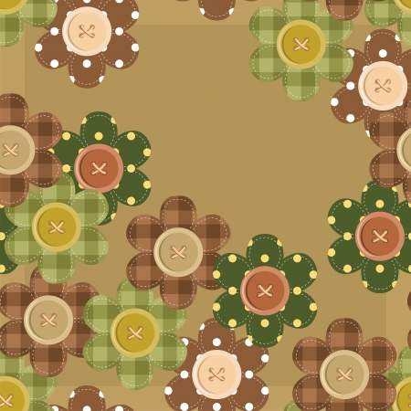 seamless pattern with scrapbook flowers Vector