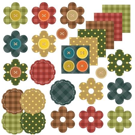 sew: set met scrapbook bloemen en stoffen