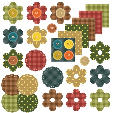 set with scrapbook flowers and fabrics Vector
