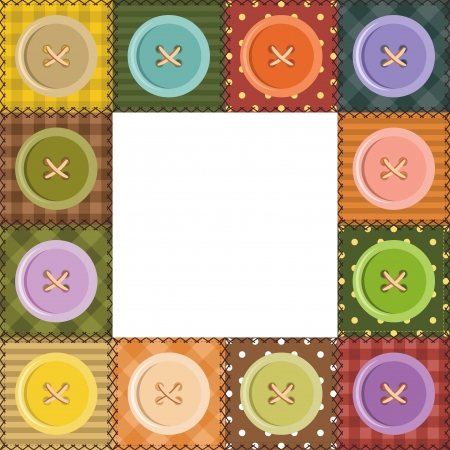 patchwork frame with buttons Illustration