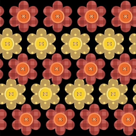 seamless pattern with scrapbook flowers Vector Illustration