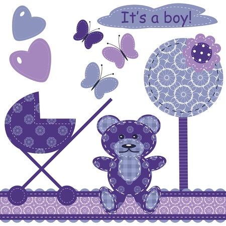 set with scrapbook object for newborn boy Vector