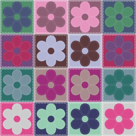 patchwork background with flowers Stock Vector - 14802038