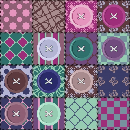 patchwork background with different patterns and buttons Vector