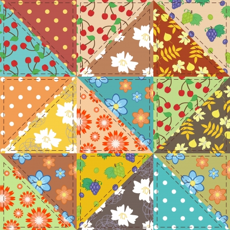 patchwork background with decor elements Vector