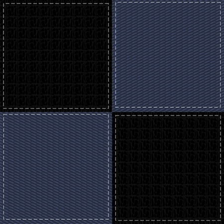 leather stitch: four denim and leather backgrounds