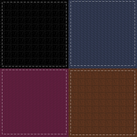 leather stitch: four seamless leather and denim backgrounds