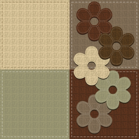 four seamless leather backgrounds and scrapbook flowers Vector