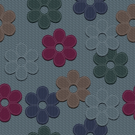 seamless denim background with scrapbook flowers Vector