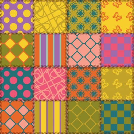 patchwork background with different patterns Stock Vector - 15058124