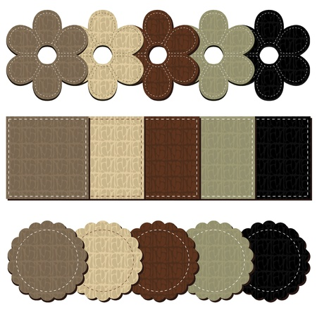 set with leather scrapbook objects Vector