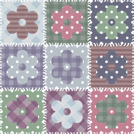 set with scrapbook flowers Vector