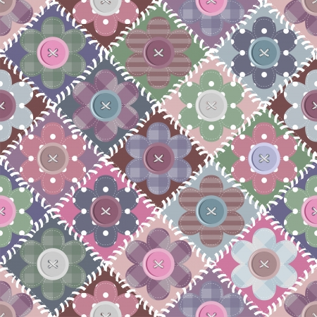 patchwork background with flowers and buttons Stock Vector - 15591894