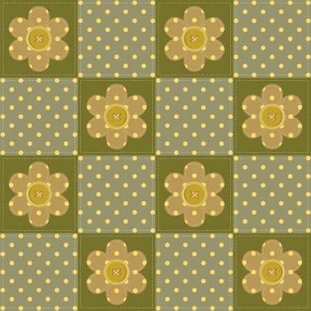 patchwork background with scrapbook flowers Vector