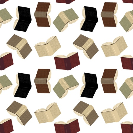 seamless background with leather books on white Stock Vector - 15602106