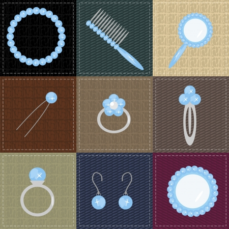 ear rings: set with lady objects on patchwork with different textures