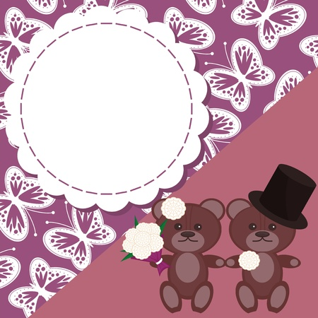 wedding card with two teddy bears Vector