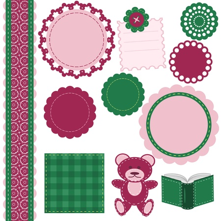 set of different scrapbook objects Vector